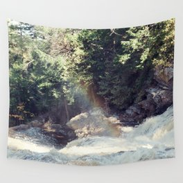 a rainbow at the falls Wall Tapestry
