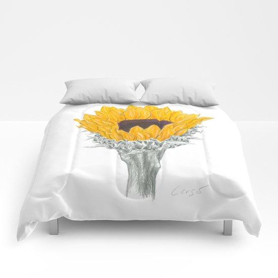 Sunflower 01 Botanical Flower Comforters