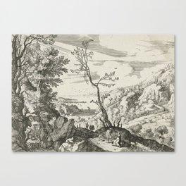 Landscape With Judah And Tamar Willem van Nieulandt II Canvas Print
