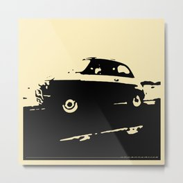 Fiat 500 classic, Black on Cream Metal Print
