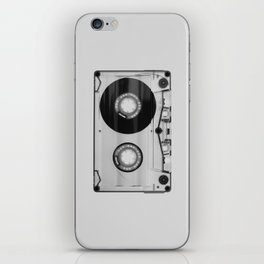 Vintage 80's Cassette - Black and White Retro Eighties Technology Art Print Wall Decor from 1980's iPhone Skin