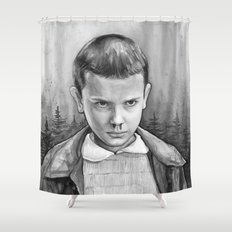 Stranger Things Eleven Watercolor Painting Black and White Shower Curtain