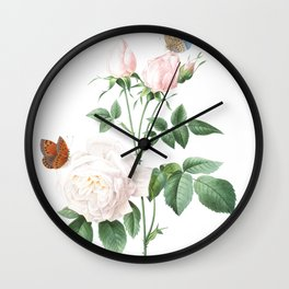 Chinese Rose art of Nature, flower print, botanical illustration Wall Clock