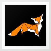 Origami Little Fox Art Print