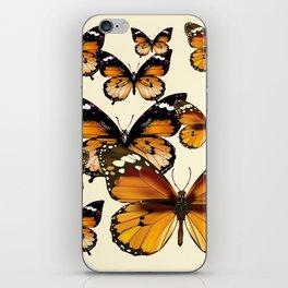 COFFEE & CREAM COLORED BROWN BUTTERFLIES iPhone Skin