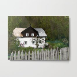 Vine Covered Cottage with Rustic Wooden Picket Fence Metal Print