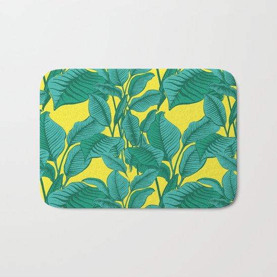 Exotic Tropical Palm Leaf Print - Lime Bath Mat