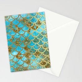 Aqua Teal & Gold Glitter MermaidScales - Mermaid Scales And Sea Foam Stationery Cards