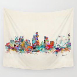london city skyline watercolor Wall Tapestry
