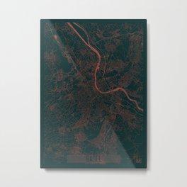 Basel Map Red Metal Print