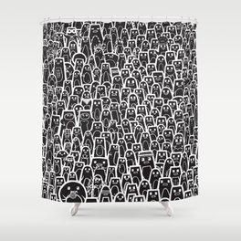 Pingu Ville Black Version Shower Curtain