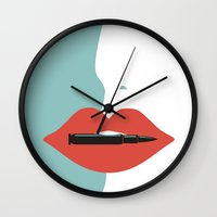 sayings Wall Clocks featuring Bite the bullet by Picomodi