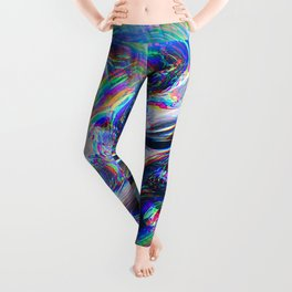 Abstract Marble Glitch Leggings