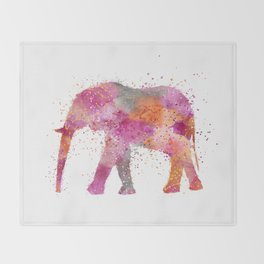 Artsy watercolor Elephant bright orange pink colors Throw Blanket