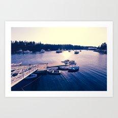 Winter Harbor Sundown Art Print