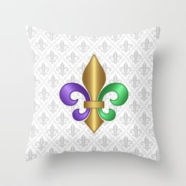 Purple Green and Gold Fleur-de-Lis on Gray Pattern Throw Pillow