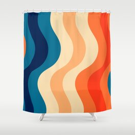 70's and 80's retro colors curving stripes Shower Curtain