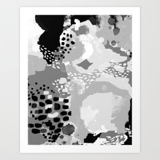 Rion - Modern minimal black and white abstract painting brooklyn nyc home decor canvas abstract art Art Print