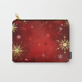 Red Background with Gold Snowflakes Carry-All Pouch