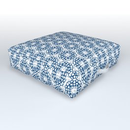 Japanese Geometric Flower Stitching in Blue and White Outdoor Floor Cushion