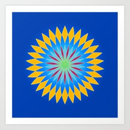 Colorful abstract star on dark blue background Art Print