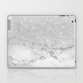 Modern faux grey silver glitter ombre white marble Laptop & iPad Skin