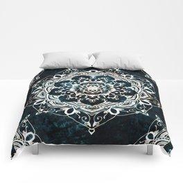 Glowing Spirit Mandala Blue White Bohemian Hippie Zen Indian Yoga Mantra Meditation Comforters