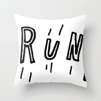drunk Throw Pillows featuring DRUNK by Timothy Goodman
