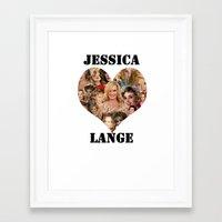 jessica lange Framed Art Prints featuring Jessica Lange  by BeeJL