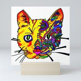 cat face in color Mini Art Print