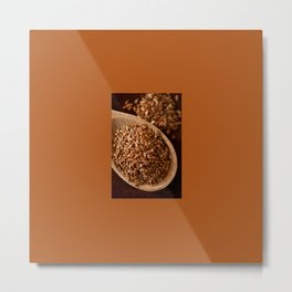 Brown flax seeds portion on wooden spoon Metal Print