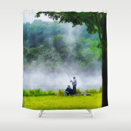 The Father and Son Fishers (Color) Shower Curtain