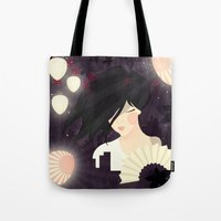 tokyo Tote Bags featuring Tokyo by Jenny Lloyd Illustration