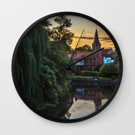 Early Evening Whitchurch on Thames Wall Clock