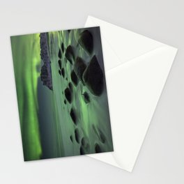 Aurora borealis over a beach on the Lofoten in Norway Stationery Cards