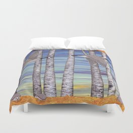 Canada geese, hedgehogs, and autumn birch trees Duvet Cover