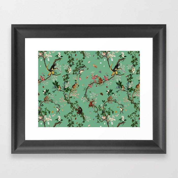 Monkey World Green Gerahmter Kunstdruck