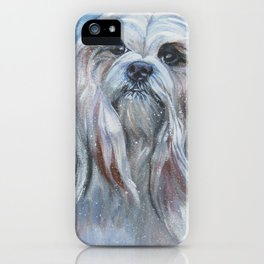Lhasa Apso dog art portrait from an original painting by L.A.Shepard iPhone Case