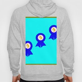 Horse Racing Award Blue Ribbons with Blue Background Hoody