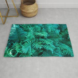 Fern Photography | Emerald | Turquoise |Tropical Leaves | Art Print Rug