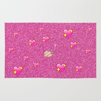 emoji Area & Throw Rugs featuring Flossy Emoji by jajoão