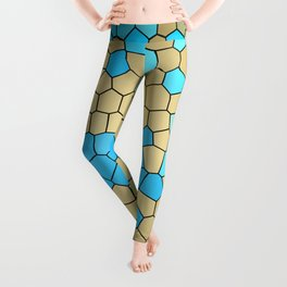 Turquoise and Gold Mosaic Leggings