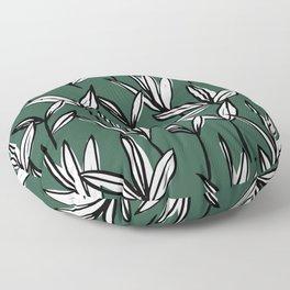 Abstract forest leaves Scandinavian modern style nature print green emerald Floor Pillow