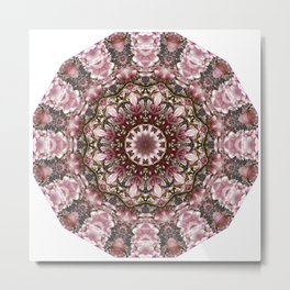 Pink spring blossoms, Floral mandala-style Metal Print