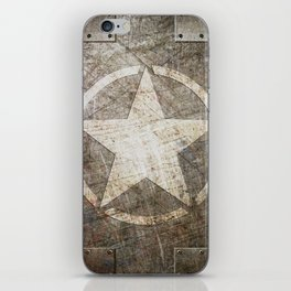 Army Star on Distressed Riveted Metal Door iPhone Skin