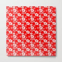 Red And White Turtles Hawaiian Pattern Metal Print