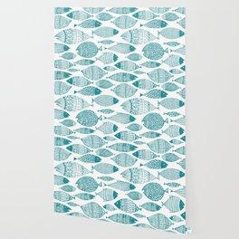 Green Fish White Wallpaper