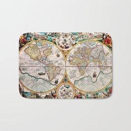 Remarkable Orbis Terrarvm Old World Map Art Bath Mat