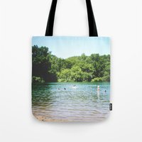 swim Tote Bags featuring Swim by Christine Hall
