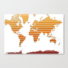 World Map - Colorful stripes Orange to Brown Canvas Print